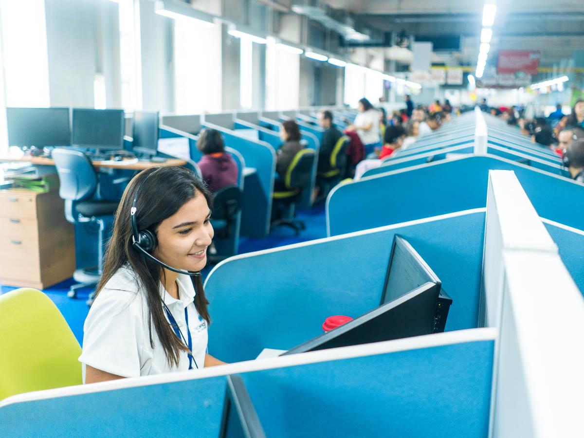Female call center agent in ops floor